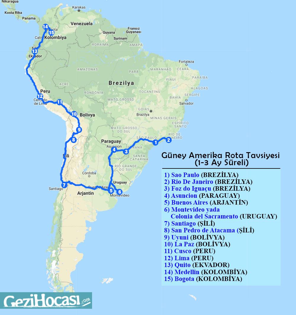 Güney Amerika Gezilecek Yerler Haritası